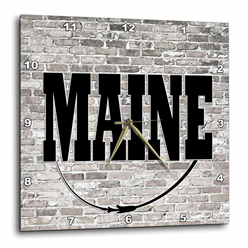 3dRose RinaPiro - US States - Maine. State Capital is Augusta. - 15x15 Wall Clock (dpp_268698_3) (Augusta Light Fifteen)