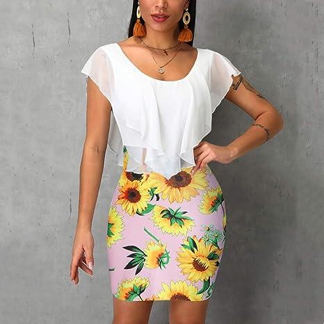 Lady Summer Casual Sunflower Print Scoop Neck Short Club Pencil Dresses Women Ruffle Bodycon Dress