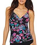 Anne Cole Women's Twist Front Underwire Cup Sized Tankini Swim Top, That's A Wrap Floral, 36B/34C