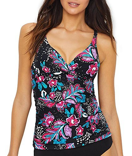Anne Cole Women's Twist Front Underwire Cup Sized Tankini Swim Top, That's A Wrap Floral, ()