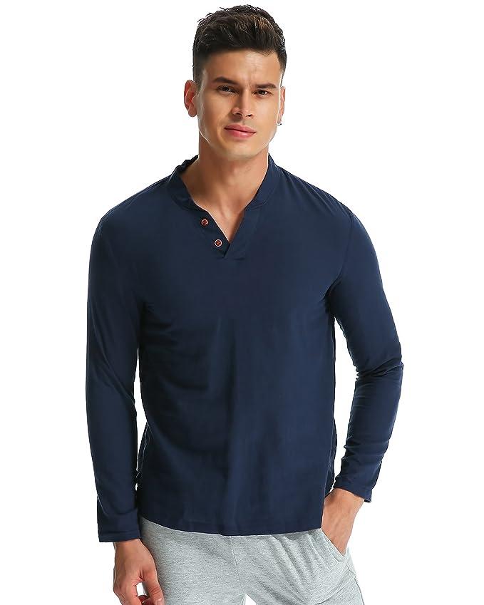 MODCHOK Hombre Camiseta Manga Larga Henley T-Shirt Sudaderas Botones Casual Algodón fG6jycWnyB