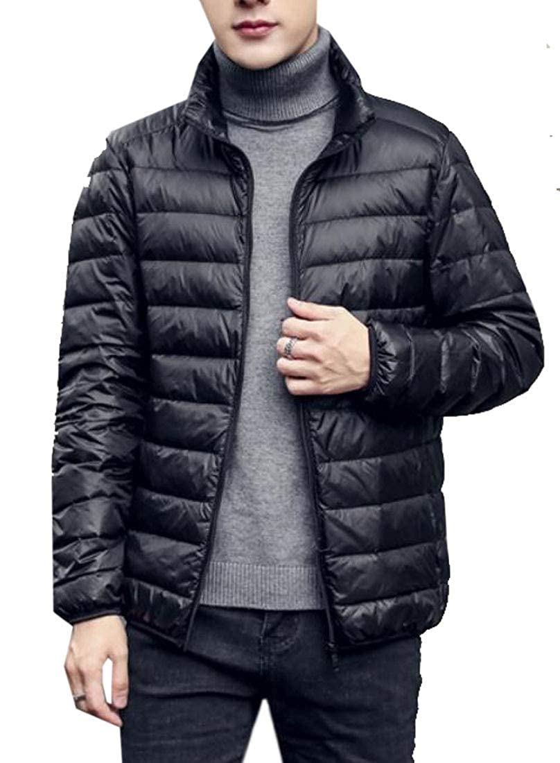 Fubotevic Mens Stand Collar Winter Loose Fit Pure Color Down Jackets Puffer Coats Outwear