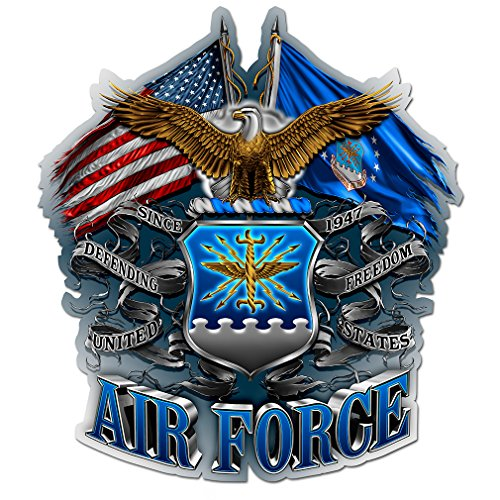 Air Force Decals, Show Your Pride with our DOUBLE FLAG AIR FORCE EAGLE Patriotic Decals, Perfect for Your Kitchen, Car, Wall or Bike, Gifts for Air Force (12IN) ()