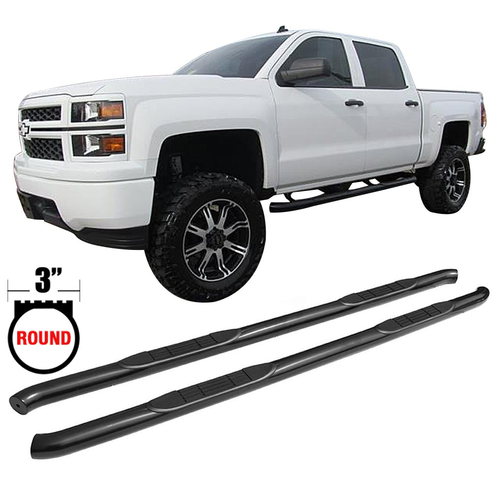 Side Step Bars Fits 2007-2017 Chevy Silverado & GMC Sierra | Black Powder Coat Finish T304 Stainless Steel New Body Style Running Boards Nerf Bars By IKON MOTORSPORTS | 2008 2009 2010 2011 2012