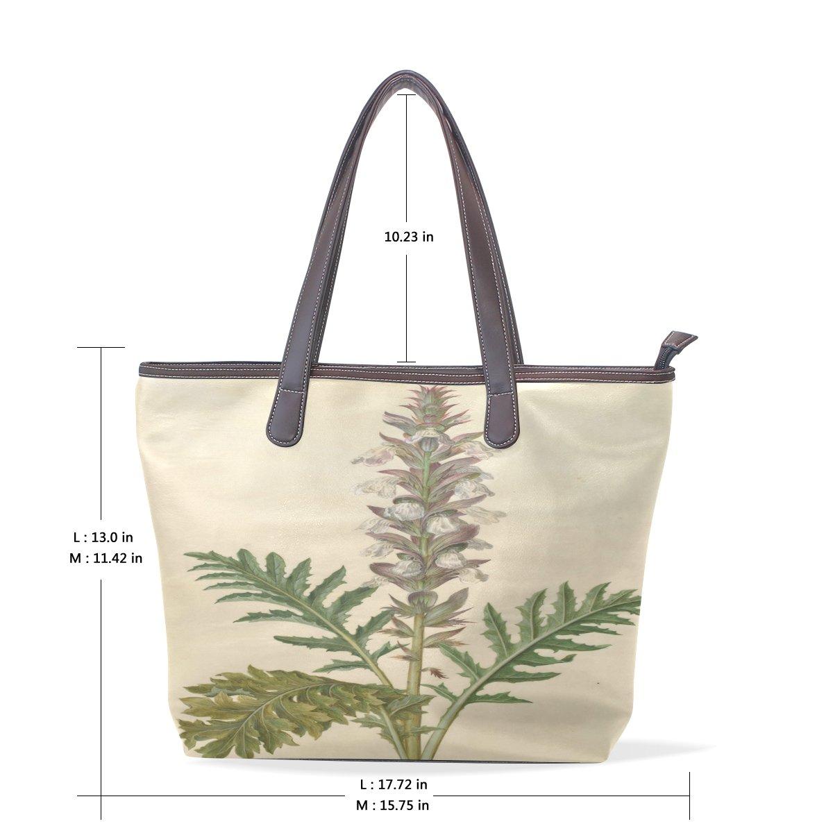 Ye Store Graceful Flowers Lady PU Leather Handbag Tote Bag Shoulder Bag Shopping Bag