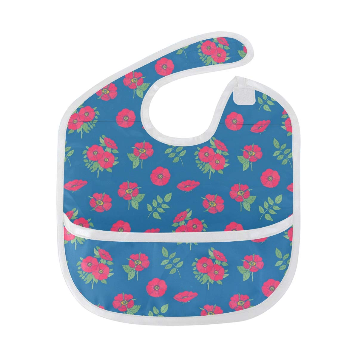 Baby Pink Dog Rose Flowers Bib, Waterproof, Washable, Stain and Odor Resistant, 6-24 Months, Unisex