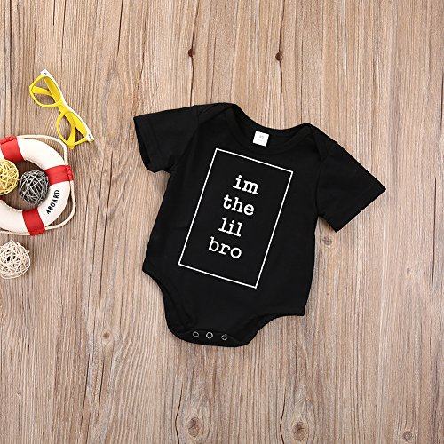 BiggerStore Newborn Baby Boys I'm The Lil bro Printed Romper Bodysuit Jumpsuit Clothes Outfits Black