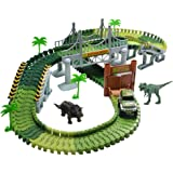Race Car Track Dinosaur Train Track Toy Set with 142 Pieces Flexible Tracks Set 2 Dinosaurs and Military Vehicles 4 Trees 2 Slopes 1 Double-Door 1 Hanging Bridge for Children's Gift Toys