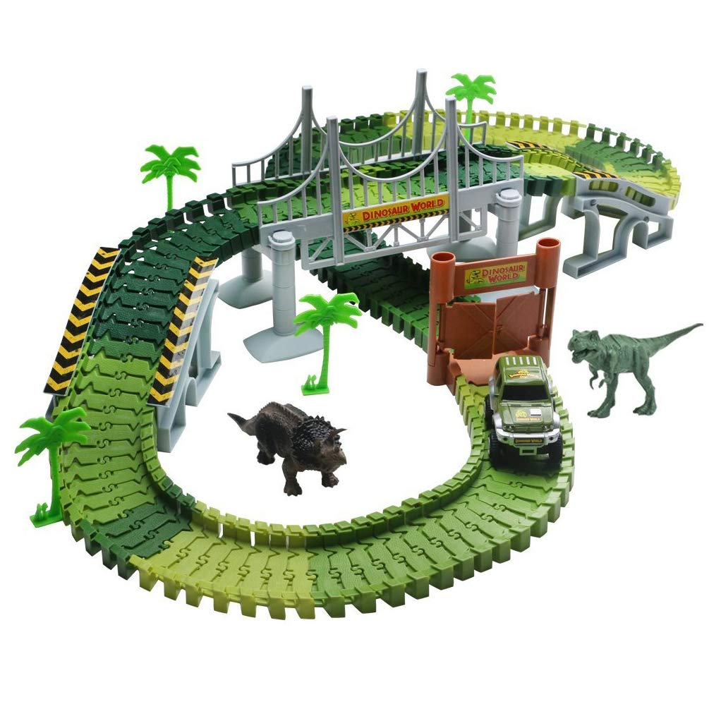 Race Car Track Set with 142 Pieces Flexible Tracks Set 2 Dinosaurs and Military Vehicles 4 Trees 2 Slopes 1 Double-Door 1 Hanging Bridge for Children's Gift Toys