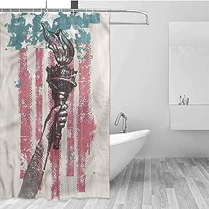 Genhequnan American Flag Hotel Fabric Shower Curtain USA ...