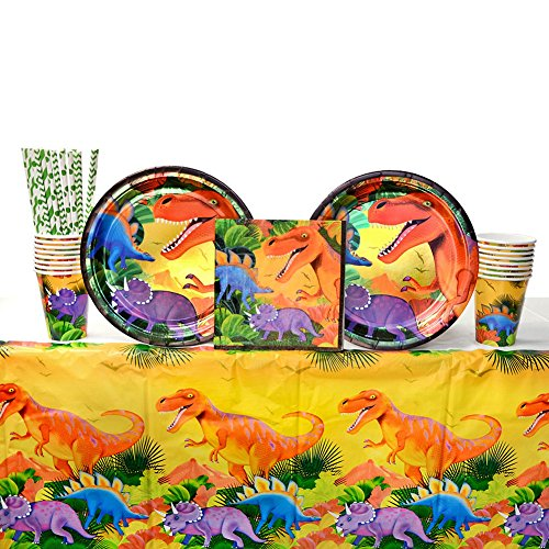 Cedar Crate Market Prehistoric Dinosaur Party Supplies Pack for 16 Guests: Straws, Dinner Plates, Luncheon Napkins, Table Cover, and Cups -
