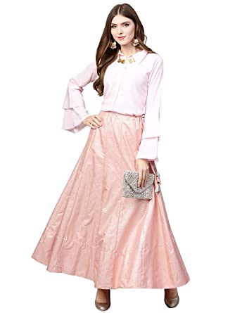 a6646a69349 Ahalyaa Indowestern Light Pink   Gold Shirt Skirt Set  Amazon.in  Clothing    Accessories
