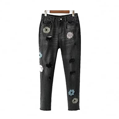 NEW Street Shot Jeans Woman Denim Pants Floral Embroidery ...