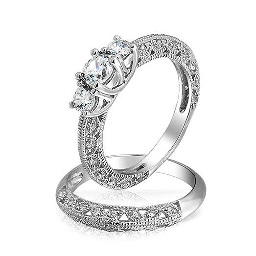 Amazoncom Bling Jewelry Vintage Style 3 Stone Round CZ Wedding
