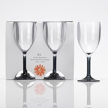 Verre à vin Acrylique 290 ml, lot de 4 verres gris Camping