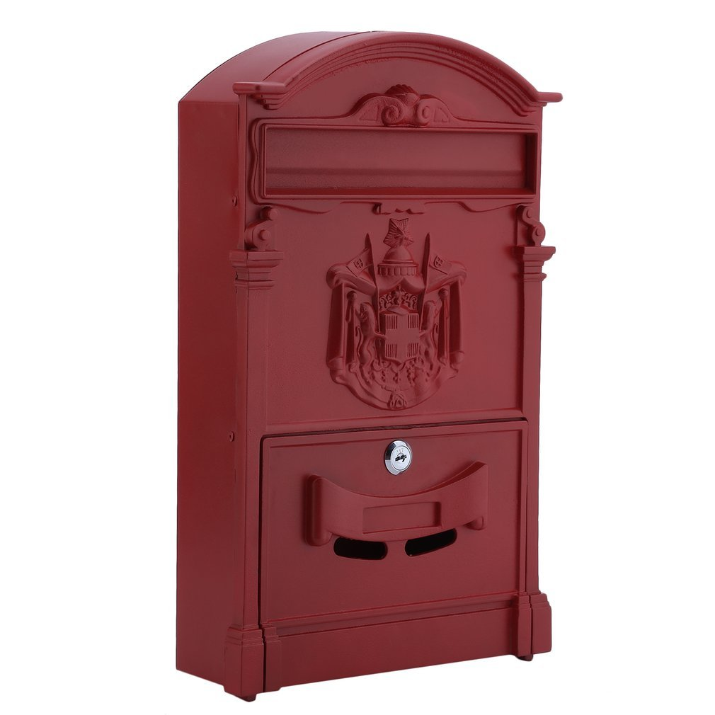 Belovedkai Outdoor Mailbox, Wall Mounted Vintage Mail Box Locking Post Box Secure Letterbox for Home Garden (red) by Belovedkai (Image #2)