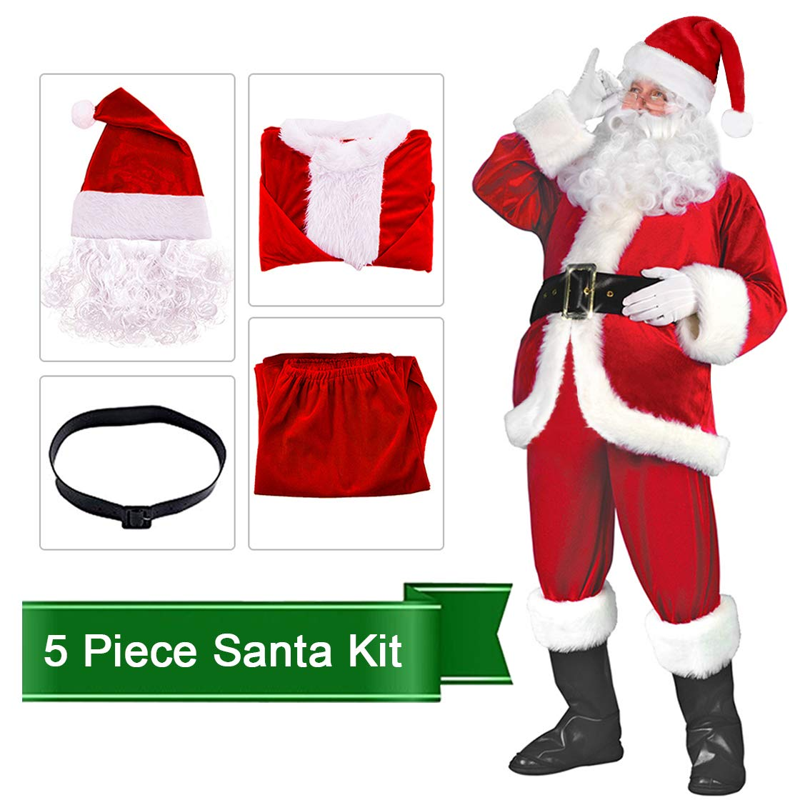 Santa Claus Costume Suit Deluxe Adult Men Christmas Party Cosplay Santa Outfit SDLRZ-RD-002P