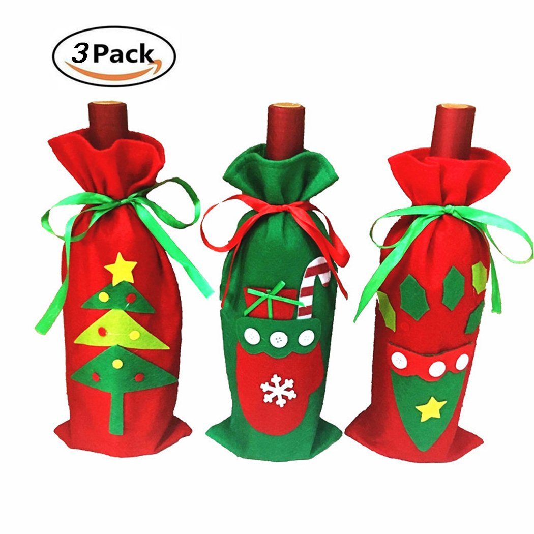 HÖTER Handmade Wine Cover Bag Xmas Restaurant Home Party Decoration String Bottle Topper Christmas Gift-Set of 3