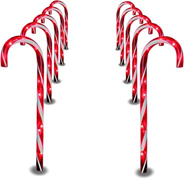 Prextex Christmas Candy Cane Pathway Markers Set Of 10 Christmas Indoor Outdoor Decoration Lights