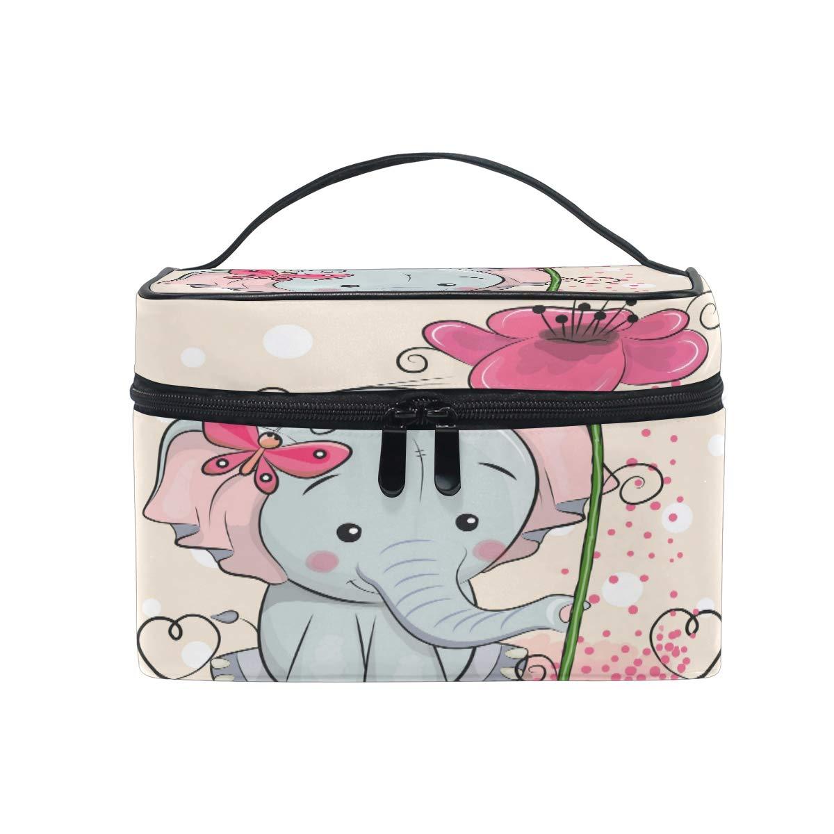 BIGJOKE Makeup Bag, Cute Elephant Flower Portable Travel