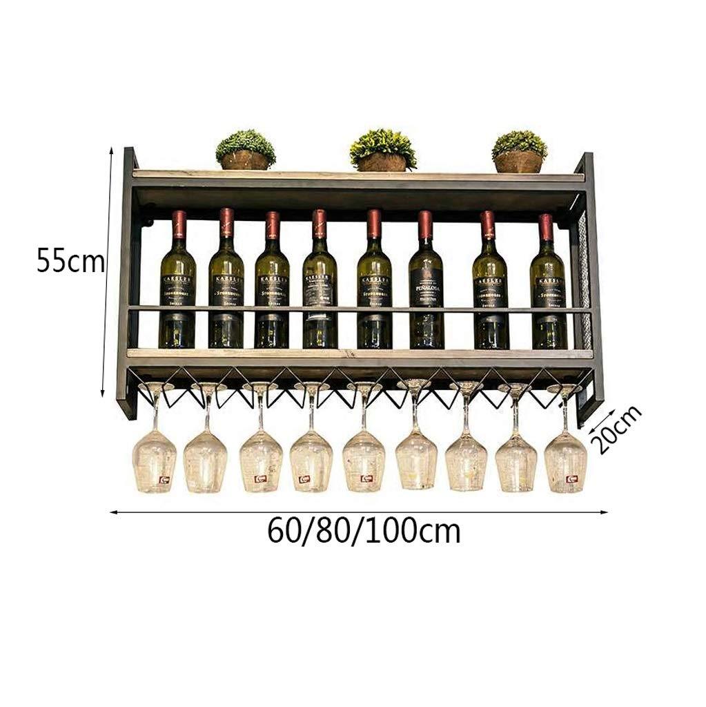 Estante Estante Estante del vino de la madera sólida del hierro labrado de la ejecución nórdica de la pared, soporte de exhibición del vino del almacenamiento de la pared, tenedor de la taza del vino, estante del cub e0452e