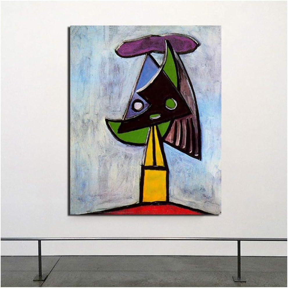 Cabeza de mujer Pablo Picasso lienzo pintura impresiones sala de estar decoración del hogar moderno arte de la pared pintura carteles cuadros -60x80cm sin marco
