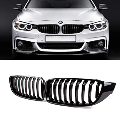SNA Front Kidney Grill Compatible for BMW 4 Series F32 F33 F36 (2014+) F82 F83 M4 F80 M3 (2015+) (Gloss Black Single Slat ABS Grille, 2-pc Set): Automotive