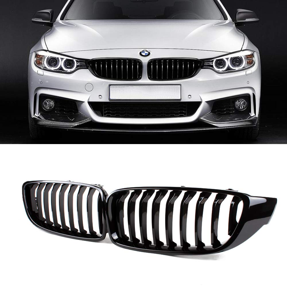 Gloss Black Double Slats ABS Grille, 2-pc Set SNA Front Kidney Grill Compatible for BMW 4 Series F32 F33 F36 F82 F83 M4 F80 M3 2015+ 2014+