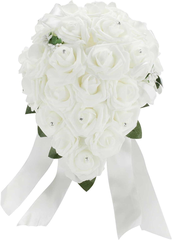 Vlovelife Wedding Bouquet White PE Rose Flowers Bridal Bridesmaid Bouquets Artificial Flower Satin Ribbon Decor Handmade Posy Pearl Rhinestone Plant Leaf Vine Decor