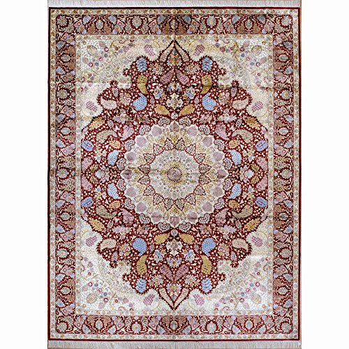 Yilong 9.5'x12.8′ Large Handmade Tabriz Silk Rug Classic Oriental Persian Handmade Floral Carpet for Home 1910