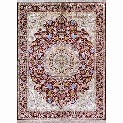 Yilong 9.5'x12.8′ Large Handmade Tabriz Silk Rug Classic Oriental Persian Handmade Floral Carpet for Home 1910