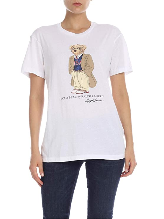 Polo Ralph Lauren T-Shirt Donna Mod. 211-752373 Bianco: Amazon.es ...