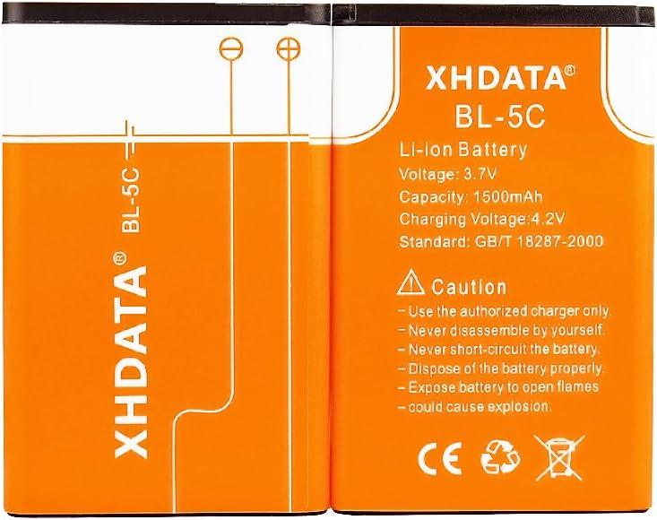 XHDATA BL-5C Batería Recargable 3.7V 1500mAh para Radio 2 Piezas Naranja