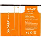 XHDATA BL-5C 3.7V 1500mAh Rechargeable Battery for Radio 2 Pieces Orange