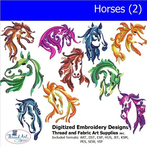 - Threadart Machine Embroidery Designs - Horses(2) - USB Stick