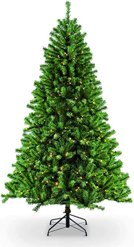 Amazon Com Puleo International 7 5 Foot Pre Lit Northern Fir Artificial Christmas Tree With 600 Clear Lights Green Home Kitchen