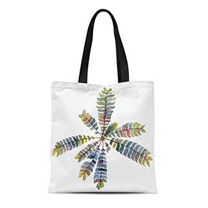 0185a96ef4ce Amazon.com: Semtomn Cotton Canvas Tote Bag Green Wild Fern Branch on ...