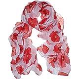 Amlaiworld Femmes Foulard rouge coquelicot fleur Wrap châle, 100cm*180cm