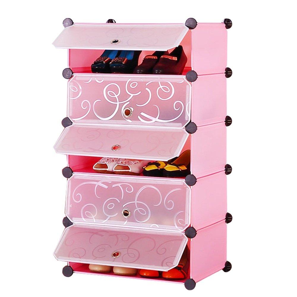 MCTECH DIY Sistema de estanterías Armario empotrado Armario plegable Armario Estantería Cajas de plástico con sistema de estantería enchufable (5 cajas rosa)
