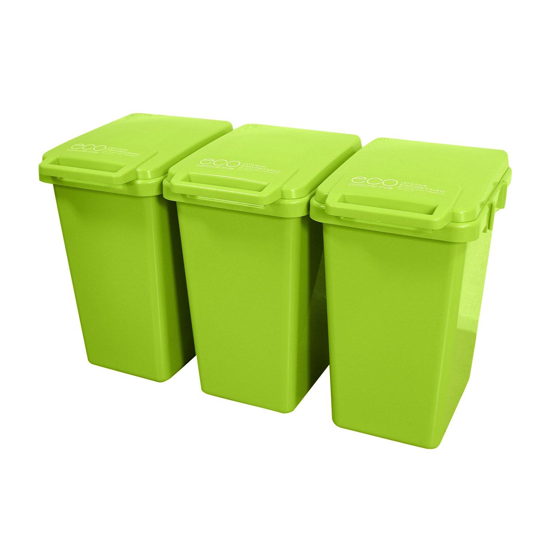 【ゴミ箱 おしゃれ 屋外 ダストボックス ごみ箱 45リットル】連結ワンハンドペール45L 3個セット(B663-3) B019I46COQ 2:グリーン 2:グリーン