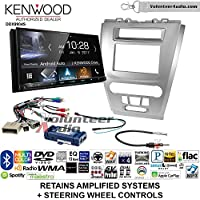 Volunteer Audio Kenwood DDX9904S Double Din Radio Install Kit with Apple CarPlay Android Auto Bluetooth Fits 2010-2012 Fusion (Silver) (Retains steering wheel controls)