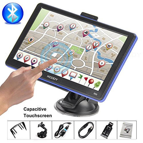 Xgody Portable Car Truck GPS Navigation 886 Support Bluetooth 7'' Capacitive Touchscreen 256MB RAM 8GB ROM NAV System Navigator with Sun Shade Lifetime Maps Updates Spoken Turn-By-Turn Directions (Gps For Truck Drivers)