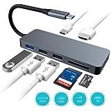 USB C ハブ 1台7役 USB Type C ハブ PD充電対応 超スリム USB C ドッキングステーション 4K HDMI出力 USB3.0 ハブ SD/Micro SD カードリーダー マイクロ タイプC HDMI 変換 アダプタ MacBook MacBook Pro/ChromeBook対応 グレー (グレー)