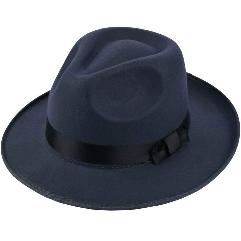 Feisette Womens Woolen Jazz hat British Retro hat Fashion hat Performance Mens Wool Felt Elegant Hats