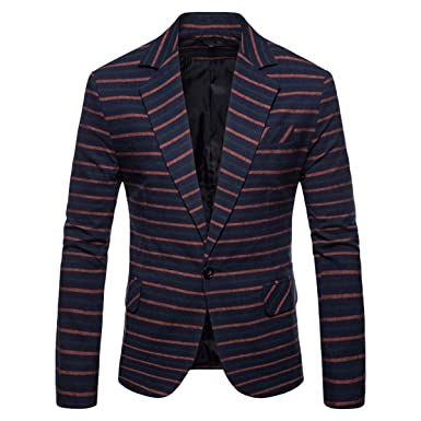ec5ff13b3a17c5 Keepline Men s Pinstripe Suit Jacket Notch Lapel Slim Fit Printed Sport  Coat Orange