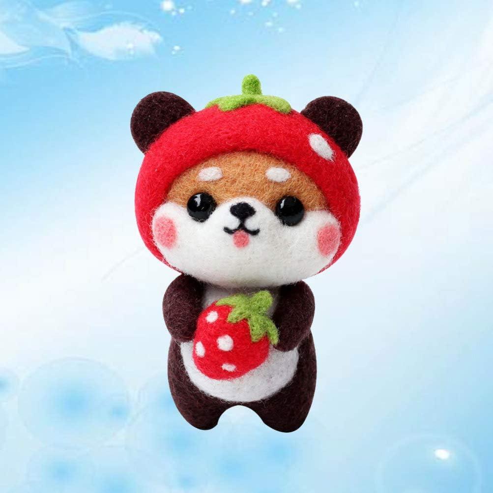 Exceart Dog Needle Felting Kit Cute Cartoon Bear Akita Animals Wool Felting DIY Kit for Kids Adults Beginner DIY Art Carft Supplies