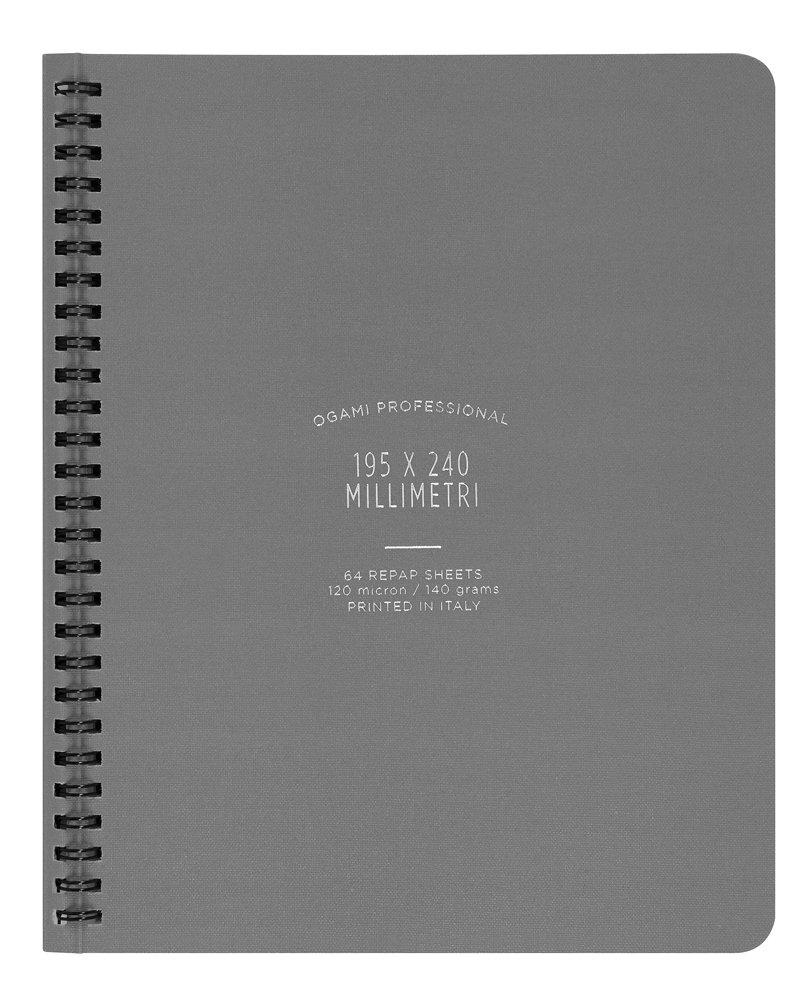 Ogami - Notebook Professional Grey - Quaderno ad Anelli di Carta Repap con Copertina Rigida - Colore Grigio - Pagina a Righe - Formato Regular 195 x 240 mm