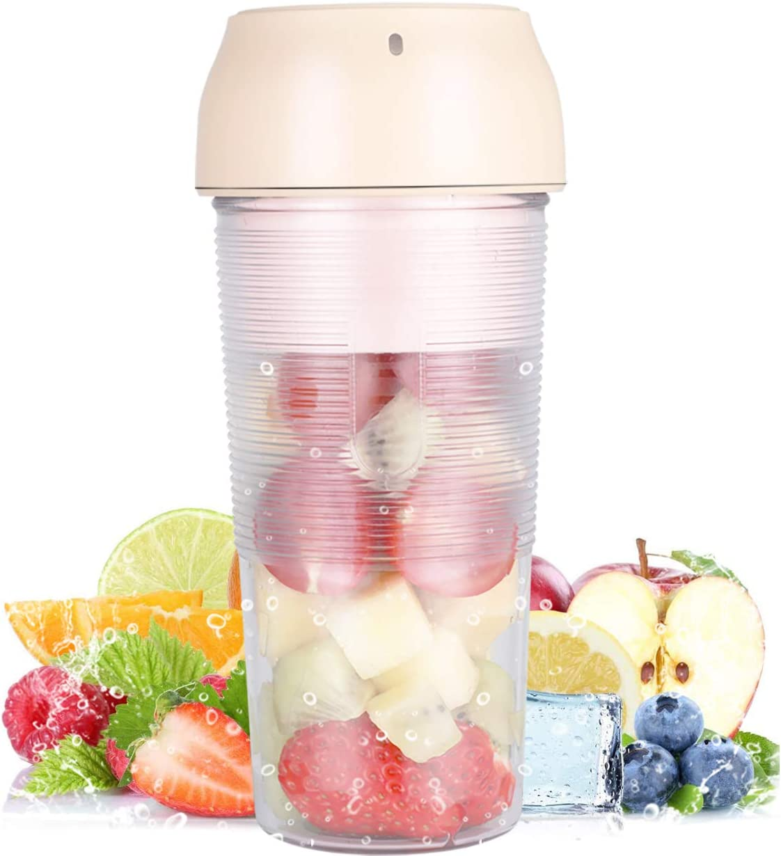 Protable Size Blender,Cordless Juicer Cup,Mini Blender for Shakes and Smoothies, Personal Blender with Rechargeable USB, Made with BPA-Free Material Portable Juicer, for Home,Office,Sports,Travel,Outdoors,School(Light Pink)