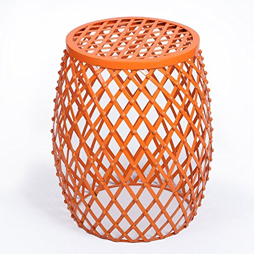 Homebeez Home Garden Accents Wire Round Iron Metal Stripes Stool Side End  Table Plant Stand, Hatched Diamond Pattern,Orange
