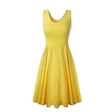4d4a8f2b78a2 HIKA Women's Casual Sleeveless Round Neck A Line Flared Midi Tank Sun Dress